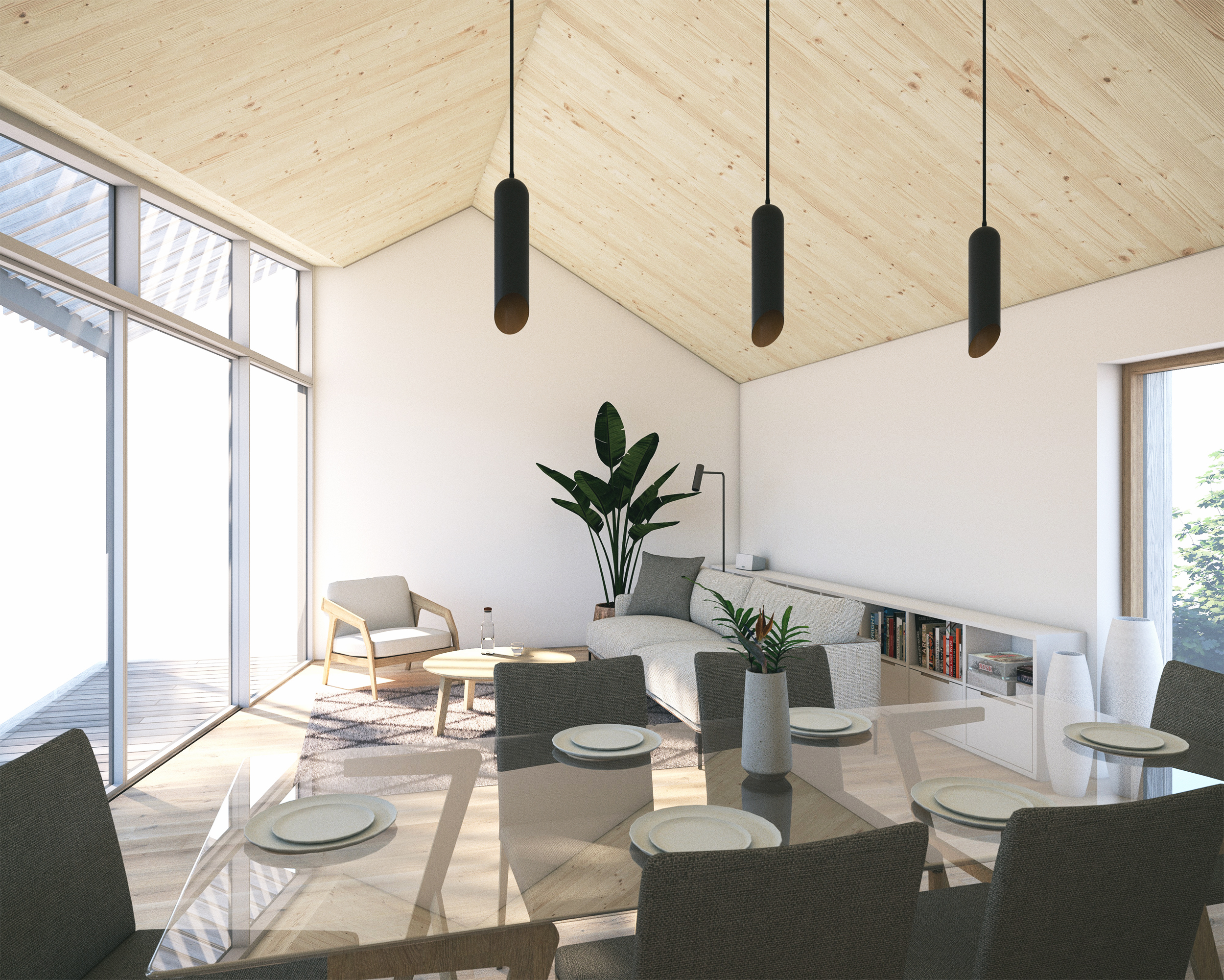 Computer render illustrating the first floor open plan living areas, with exposed cross-laminated timber (CLT) ceilings