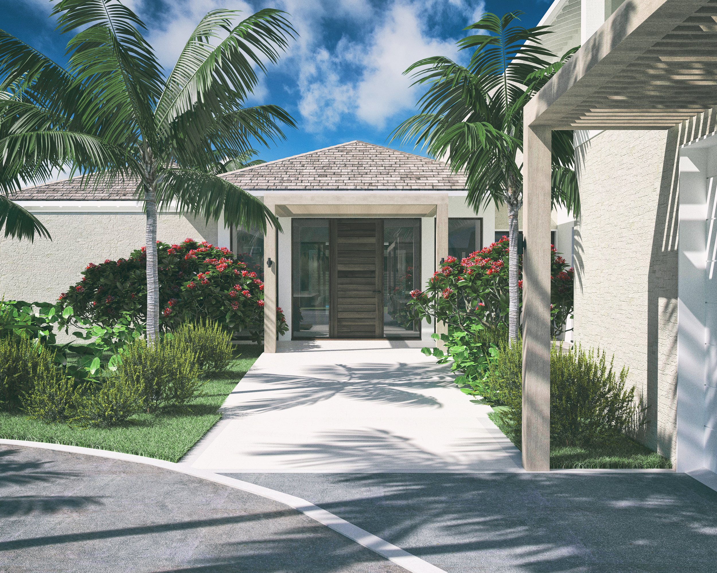 Rendered image of the front entrance