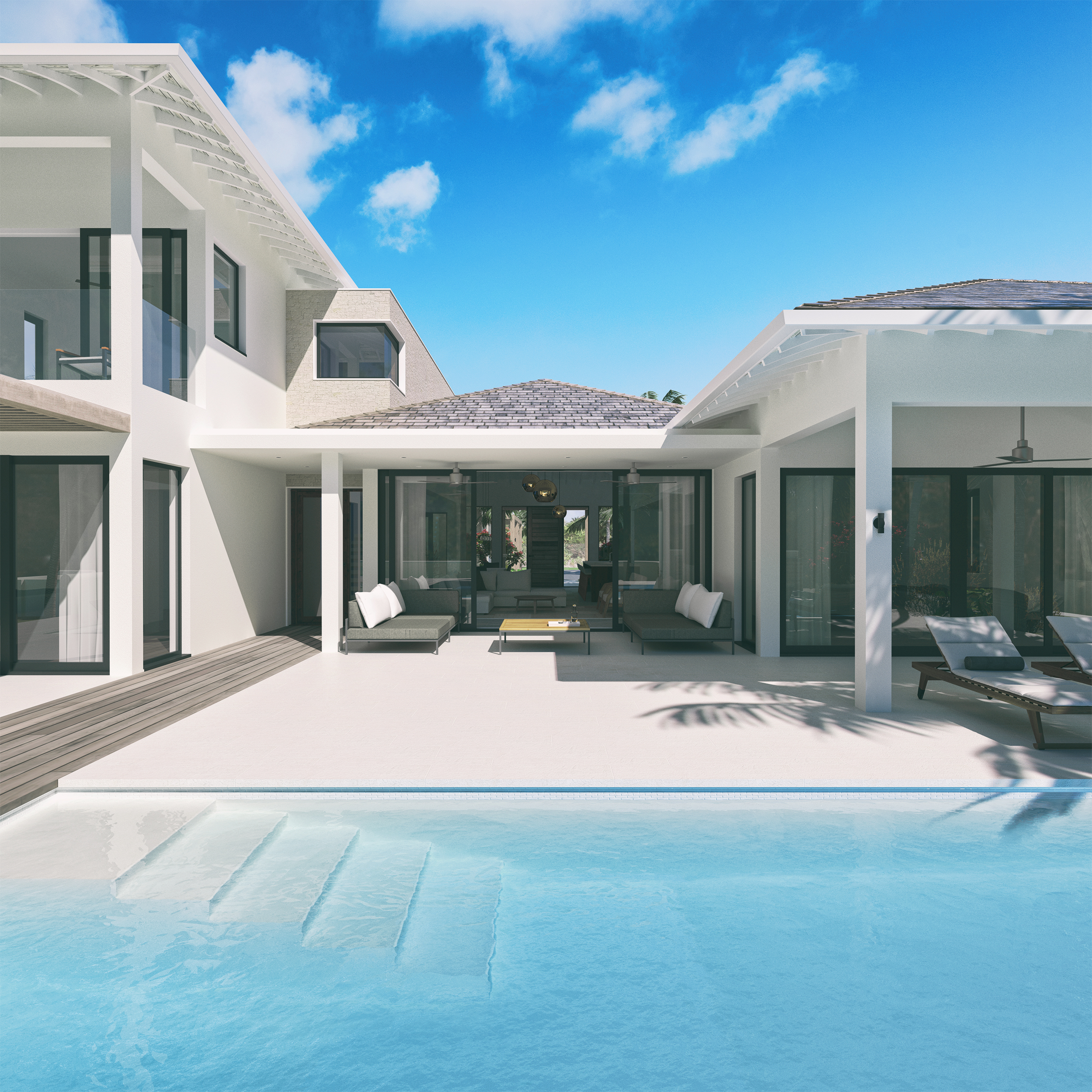 Rendered image of the swimming pool and villa