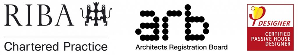 Accreditations: RIBA Chartered Practice, Architects Registration Board (ARB), Certified Passive House Designer